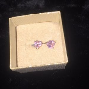 14kt gold pink ice heart  earrings valentines